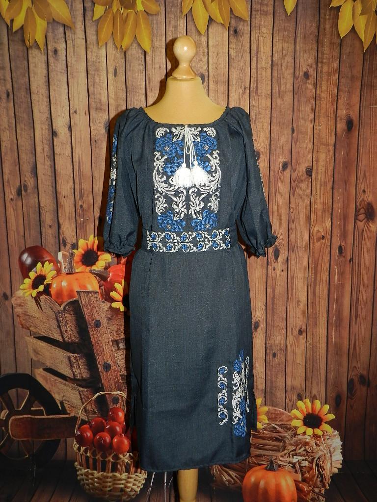 Платье-вышиванка Хризантемы 54 р.