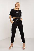 Летний женский спортивный костюм с футболкой черного цвета