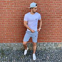 Мужской комплект летний (футболка, шорты) Nike, Under Armour,Puma, Air Jordan,New Balance белый серый