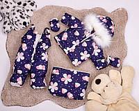 Детский трансформер, зимний комбинезон для новорожденных от 0до2 принт на фиолетовом фоне цветочки