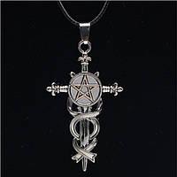 """Подвеска кулон """"Готический крест с пентаграммой и геральдическими лилиями"""" Цвет серебро Амулет талисман, фото 1"""