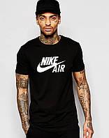 Черная футболка в стиле Nike Air белое лого
