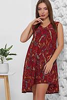 Платье летнее среднее миди бордовое, супер Софт с поясом в комплекте. Размеры 42, 44, 46, 48, 50