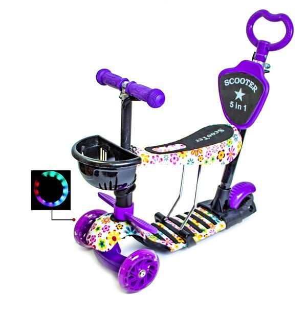 Самокат Scooter 5in1 с рисунком Фиолетовый Цветочек Гарантия качества Быстрая доставка
