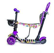 Самокат Scooter 5in1 с рисунком Фиолетовый Цветочек Гарантия качества Быстрая доставка, фото 2