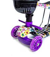 Самокат Scooter 5in1 с рисунком Фиолетовый Цветочек Гарантия качества Быстрая доставка, фото 3