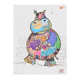 Блокнот А5/96 КЛ. с твердой обложкой фольга золото+Уф.выб. BugArt. White hippo YES код:151383
