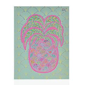Блокнот А5/64 ЛИН. с твердой обложкой фольга голограф.серебро+УФ-выб. Turnowsky. Art pineapple YES код:151389