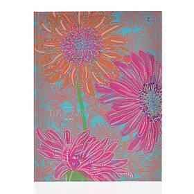 Блокнот А5/64 ЛИН. с твердой обложкой фольга голограф.серебро+УФ-выб. Turnowsky. Art flowers YES код:151393