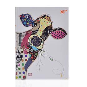 Блокнот А6/64 КЛ. с твердой обложкой фольга золото+Уф.выб. BugArt. White cow YES код:151403