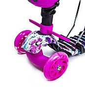 Самокат Scooter 5in1 з малюнком рожевий маки Гарантія якості Швидка доставка, фото 3