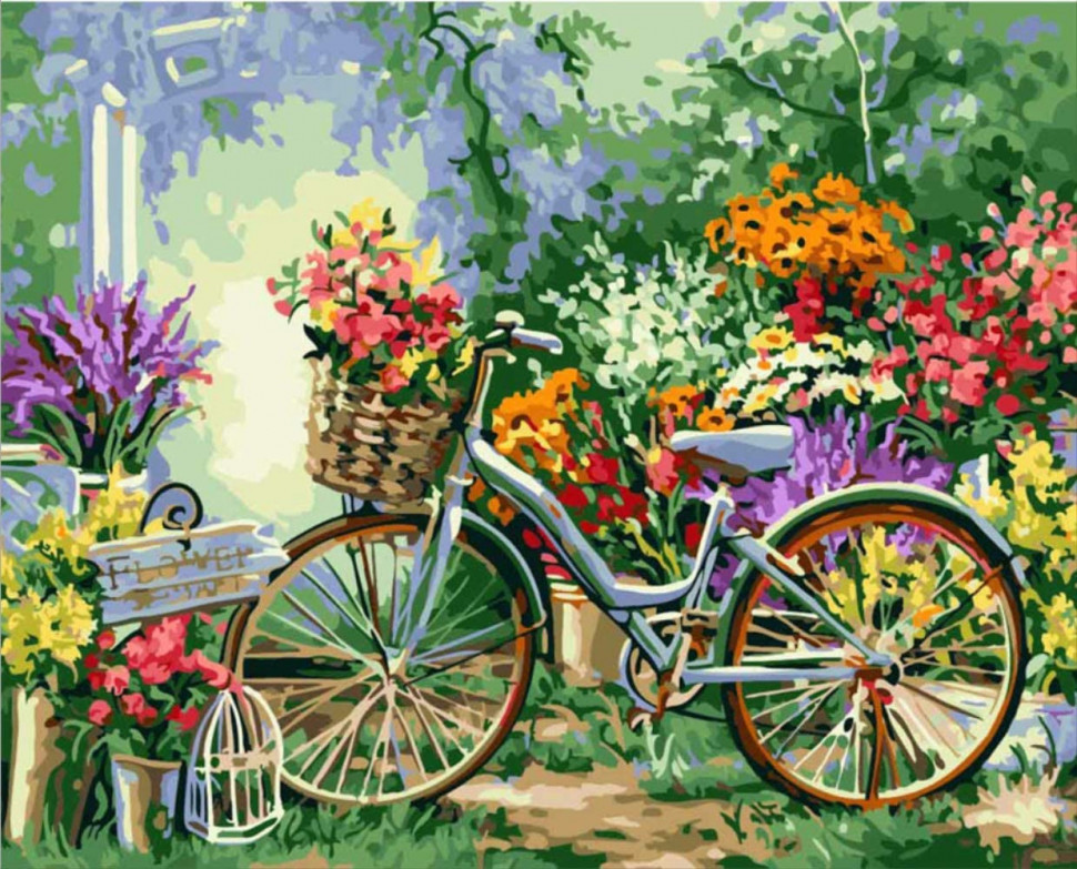 """Картина по номерам. Art Craft """"Велосипед в цветах"""" 40*50см 12501"""