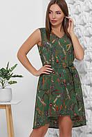 Платье летнее среднее миди зеленое, супер Софт, с поясом в комплекте. Размеры 42, 44, 46, 48, 50