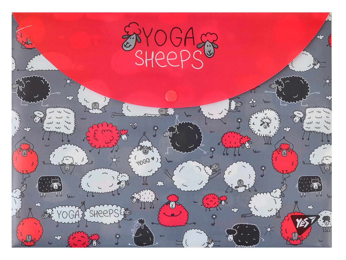 Папка-конверт YES на кнопке А4 Yoga sheeps код:491638