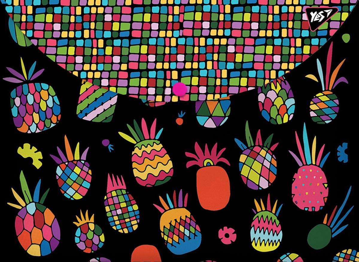 Папка-конверт YES на кнопке А4 Black pineapple код:491660