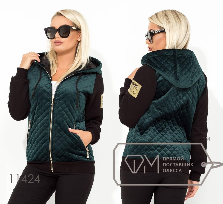 Куртка из велюра женская демисезон  норма р.42-46  Фабрика Моды