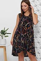 Платье летнее среднее миди темно-синее, супер Софт, с поясом в комплекте. Размеры 42, 44, 46, 48, 50