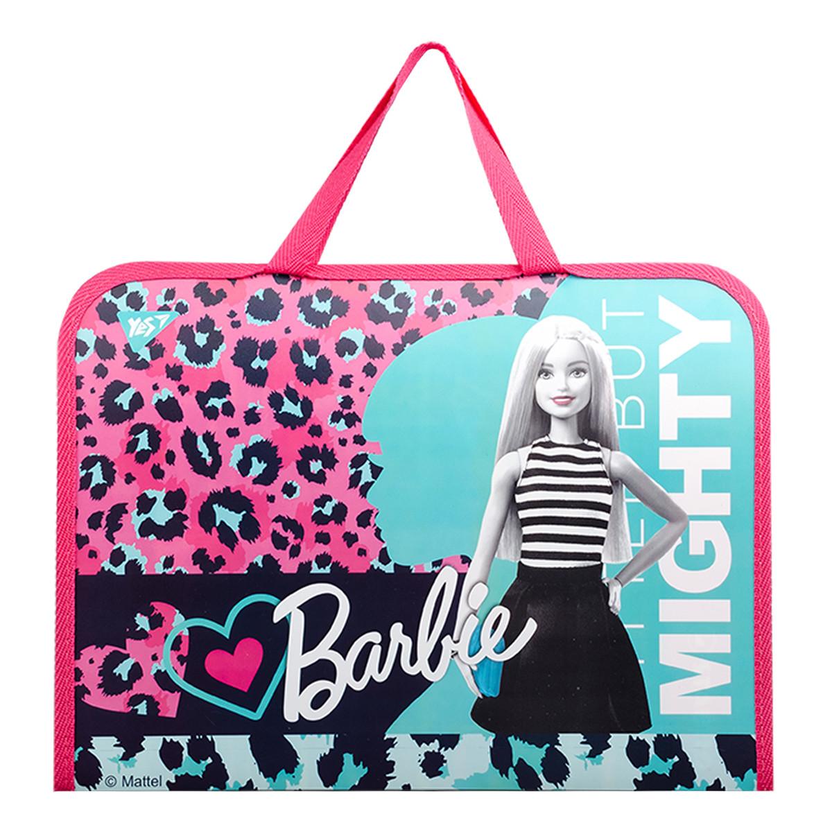 Папка-портфель YES на молнии с тканевыми ручками Barbie код:491817