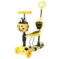 Самокат детский со съемным сиденьем и ручкой iTrike JR 3-026-B желтый