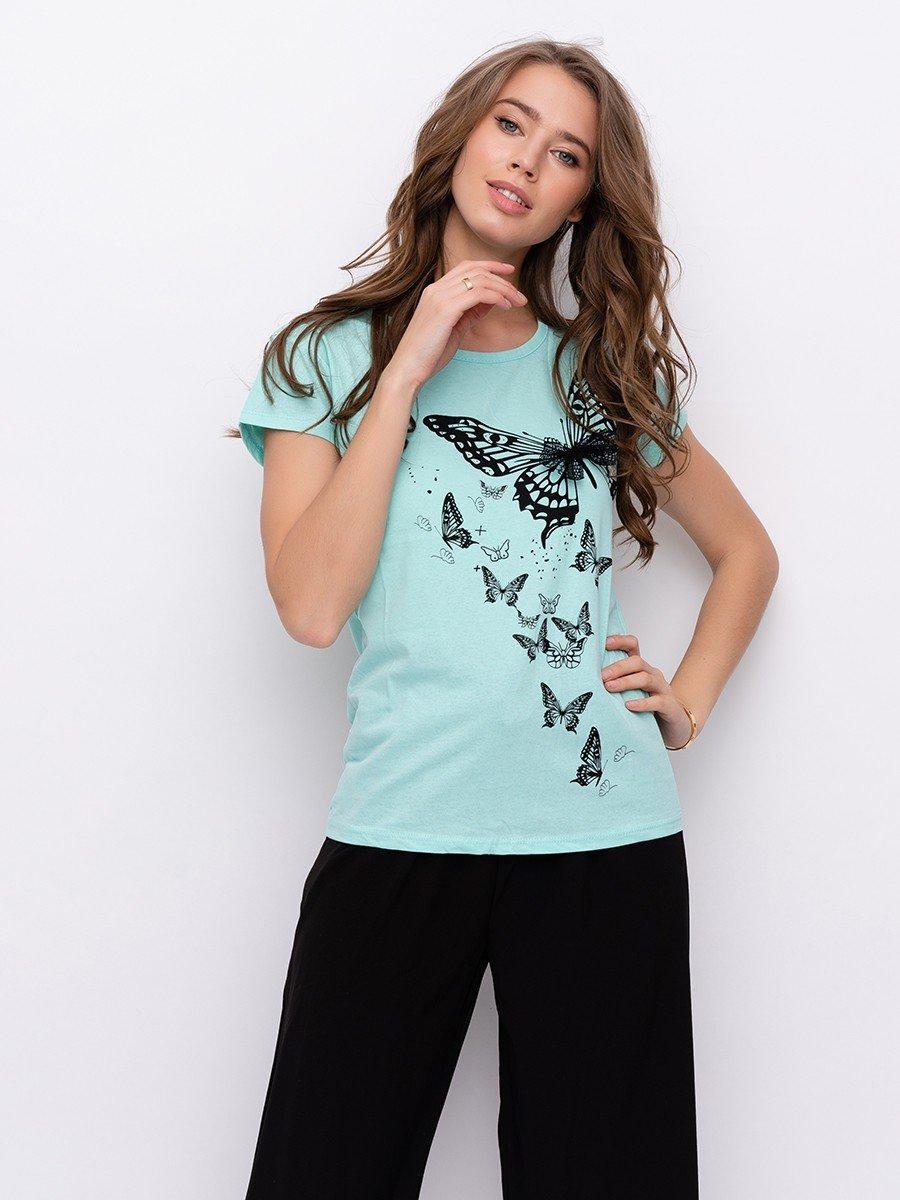 Женская футболка с бабочками 42-44 (в расцветках)