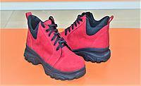 Кроссовки женские высокие красные на толстой подошве от производителя KARMEN