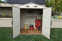Сарай пластиковий StoreAll (слонова кістка, білий дах, 245x168x220 см), фото 2