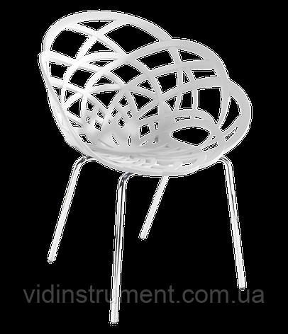 Кресло Papatya Flora-ML матовое белое сиденье, ножки хром, фото 2