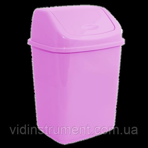 Ведро для мусора 5л с крышкой розовый, фото 2