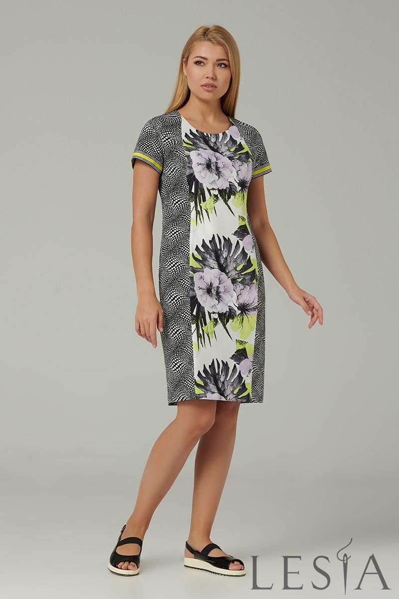 Літній комбіноване сукня сіра клітинка і квітковий принт Lesya Ивия