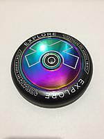 Колесо Explore для трюкового самоката металлическое цельнолитое 120 мм с подшипниками ABEC-9 c голограммой, фото 1