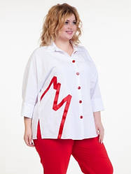 Біла блузка сорочка великого розміру