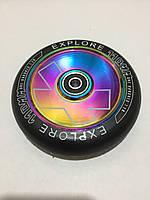 Колесо Explore для трюкового самоката металлическое цельнолитое 110 мм с подшипниками ABEC-9 c голограммой, фото 1