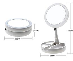 Зеркало с led подсветкой My Foldaway Mirror для макияжа белое, фото 3