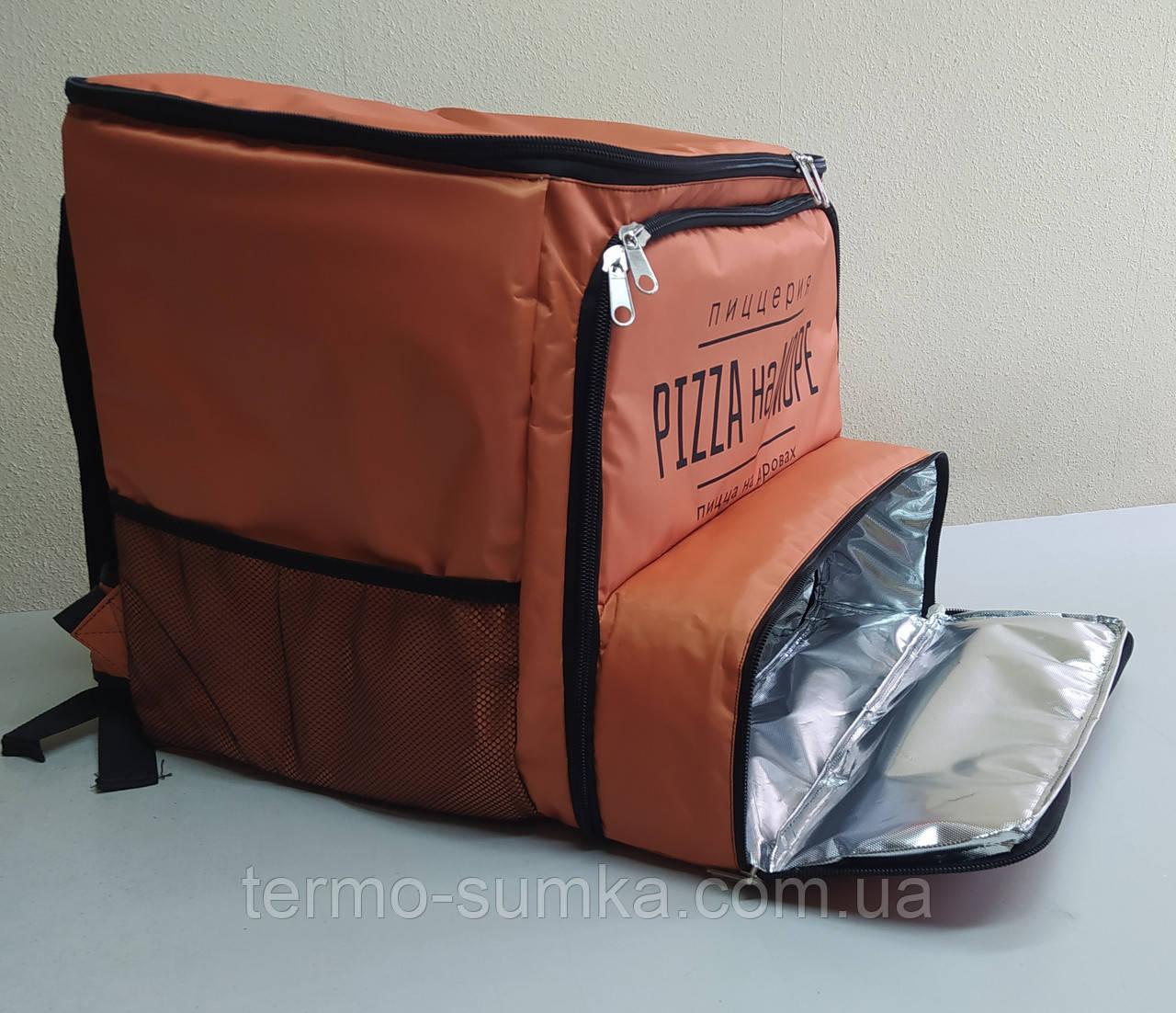 Рюкзак, термосумка для доставки еды с отделением для коробок на пиццу 42*42 вертикально-горизонтальной загр
