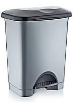Ведро для мусора с педалью Irak Plastik Stella 45л серый металлик