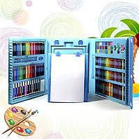 """Набір для малювання з мольбертом у валізці """"Чемодан творчості 208 предметів"""" Блакитний (дитячий)"""