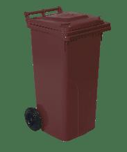 Бак для мусора на колесах с ручкой 120 л темно-коричневый