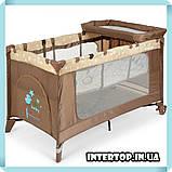 Дитяча манеж-ліжко з пеленальним столиком 2 в 1 El Camino Safe Plus ME 1054 Stars Gray бежевий, фото 2