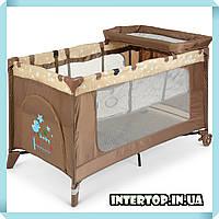 Детская манеж кровать с пеленальным столиком 2 в 1 El Camino Safe Plus ME 1054 Stars Gray бежевый