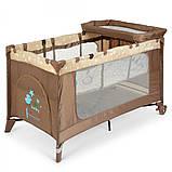 Дитяча манеж-ліжко з пеленальним столиком 2 в 1 El Camino Safe Plus ME 1054 Stars Gray бежевий, фото 9