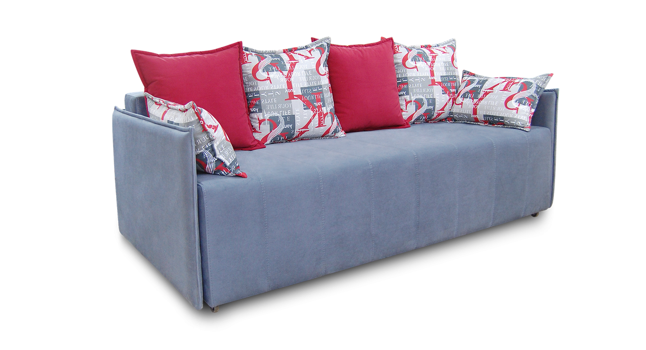 Сірий диван єврокнижка Грейс фабрики Нота з вузькими підлокітниками