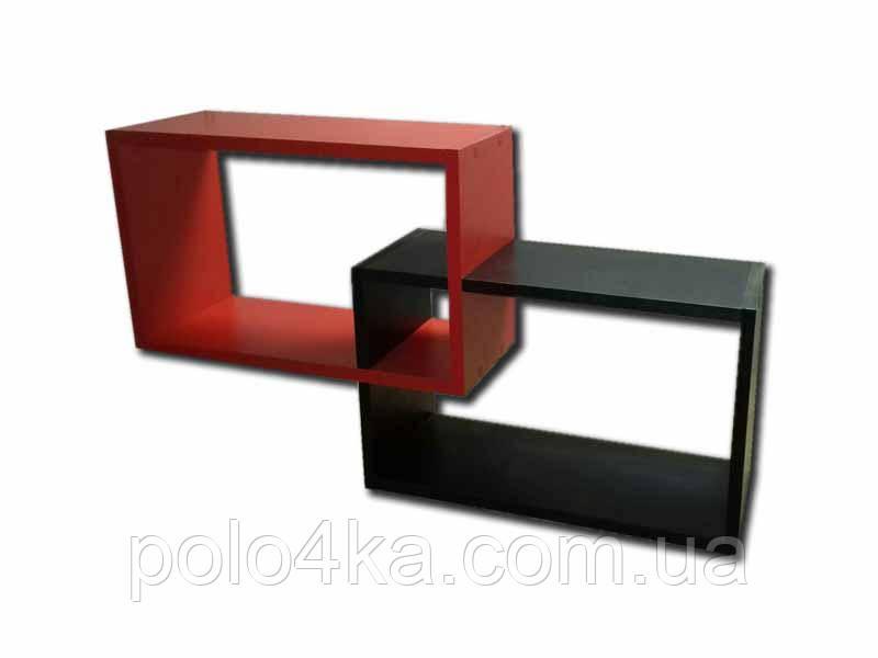 Полка настенная Двойка ДСП красно/черная