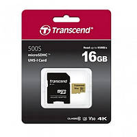 Карта памяті MicroSDHC 16GB class 10 (SD адаптер) Transcend