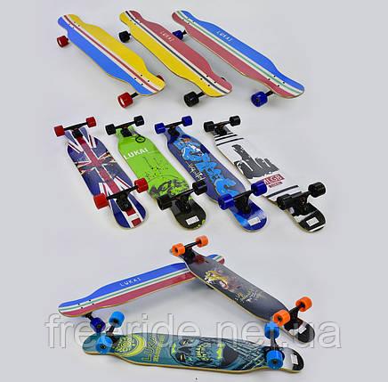 Скейт-лонгборд (С 32022) 6 видов, подшипник АВЕС-11, колёса PU, d=7 см, фото 2