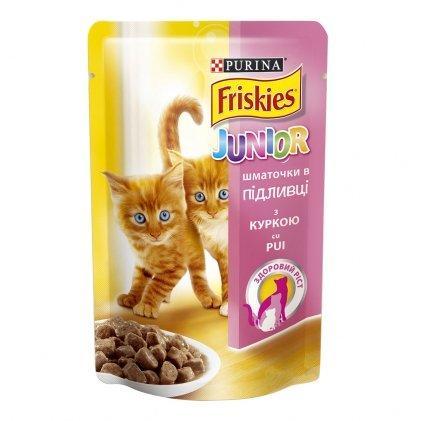 Пауч Purina Friskies Пуріна Фріскіс з куркою шматочки у підливці для кошенят 85 г