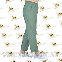 Летние брюки-лосины стрейч-коттон ментоловый цвет,  р.48-54