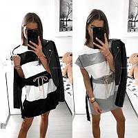 Женское летнее короткое свободное полосатое платье с вискозы черное серое белое 42-44