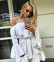 Женское летнее короткое с открытыми плечами платье фонарик свободное белое мини 42-46 софт