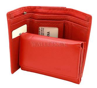 Маленький женский кожаный кошелек Marco Coverna на магнитах, красный.