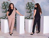 Стильный летний женский костюм футболка и брюки размеры батал 48-62 арт 885